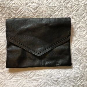 Oversize faux leather clutch